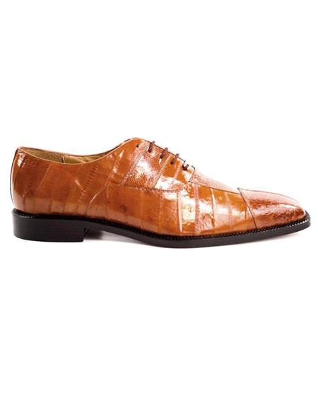 Mens Authentic Belvedere Brand Camel Lace Up Shoes Leather Lining