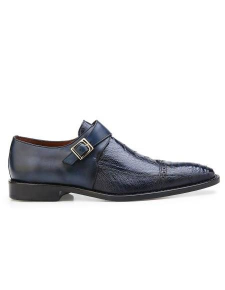 Mens Authentic Belvedere Brand Slip On Leather Lining Single Buckle Blue Safari Shoe