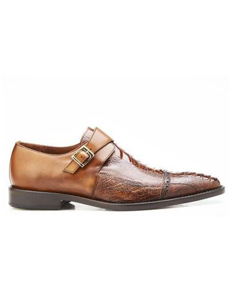 Mens Authentic Belvedere Brand Slip On Leather Lining Single Buckle Antique Almond Shoe