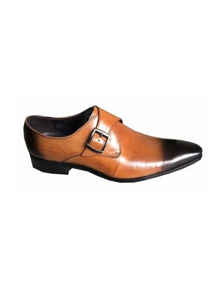 Mens Slip On Cognac Rust Copper Color Zota Mens Unique Dress Shoes - Buckle Tan Unique Zota Mens Dress Shoe