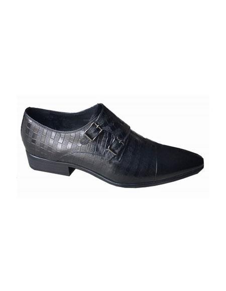 Mens Slip On Zota Mens Unique Dress Shoes - Double Buckle Black Unique Zota Mens Dress Shoe