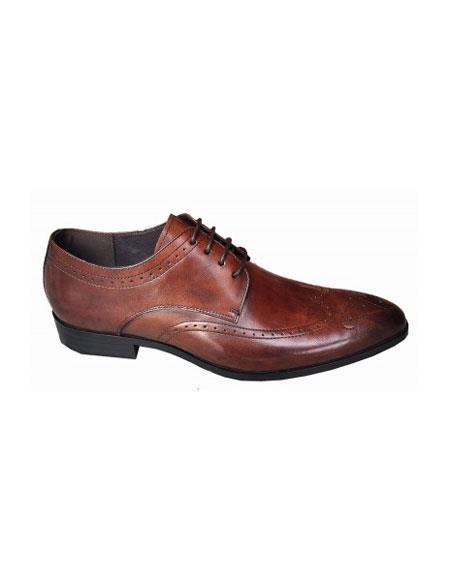 Men's Lace Up Four Eyelet Lacing Brown Unique Zota Mens Dress Shoe