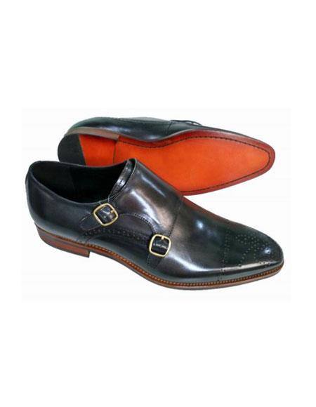Mens Double Buckle Black Unique Slip On Zota Mens Dress Shoe