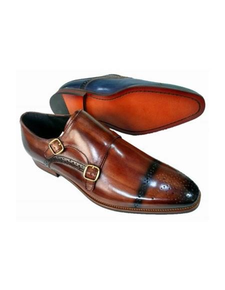 Men's Slip On Zota Mens Unique Dress Shoes - Double Buckle Brown Unique Zota Mens Dress Shoe