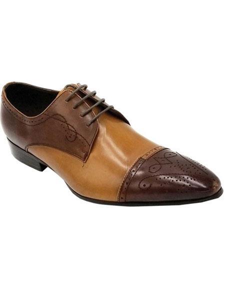 Men's Lace Up Brown Premium Leather Unique Zota Mens Dress Shoe
