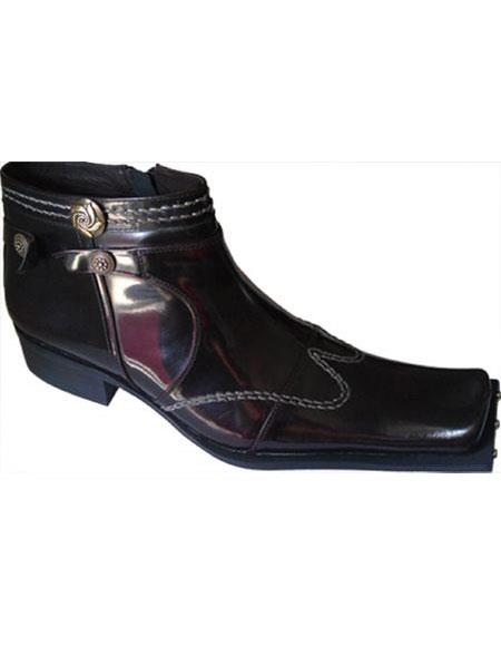 Mens Burgundy Square Toe Studded With Side Zipper Zota Unique Ankle Cheap Priced Mens Dress Boot With Jeans Or Suit Best Fashion Dressy Leather Boot!