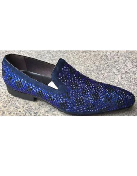 Mens Crystal Geometric Pattern Blue Unique Zota Mens Dress Two Toned Dress Shoe