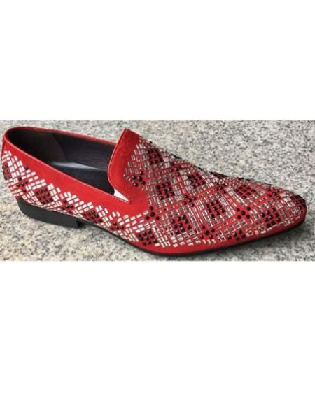 Mens Red Crystal Geometric Pattern Pointed Toe