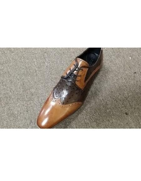Men's Tan ~ Brown Two Tone Unique Zota Mens Dress Shoe Lace Up Cognac Rust Copper Color