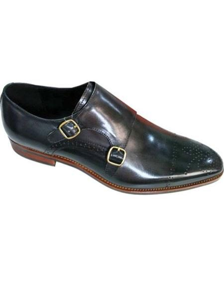Men's Black Premium Leather Unique Zota Mens Dress Shoe