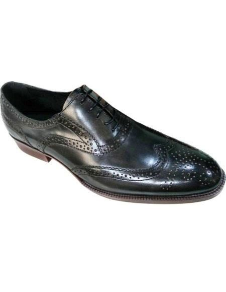 Mens Black Premium Leather Unique Zota Mens Dress Shoe