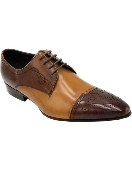 Men's Brown Lace Up Unique Zota Mens Dress Shoe