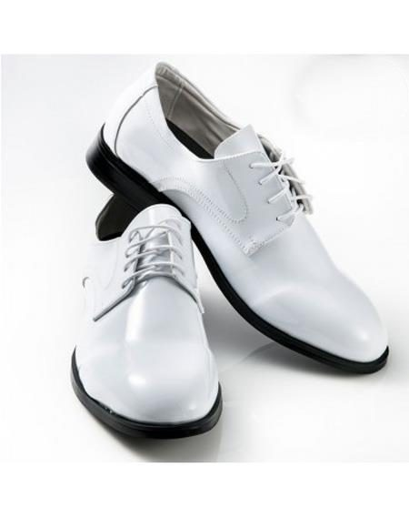 Mens Classic White Lace Up Shoe