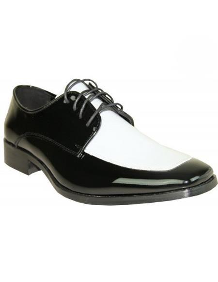 Mens White ~ Black Two-Tone Lace Up Shoe