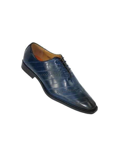 Mens Cap Toe Navy Shoes