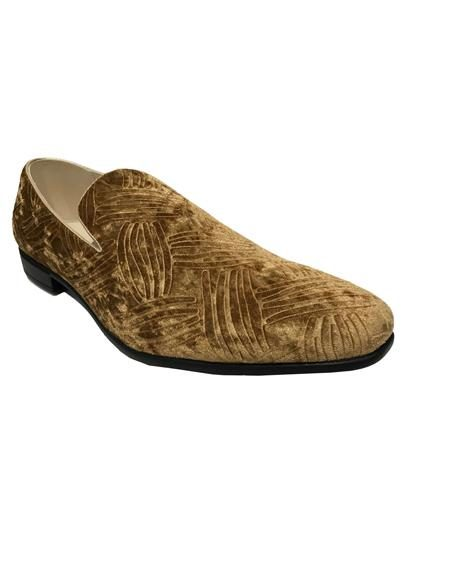 Mens Slip On Cap Toe Brown Shoes