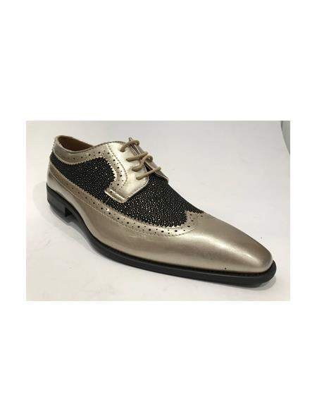 Mens Two Toned Shoes Silver & Black