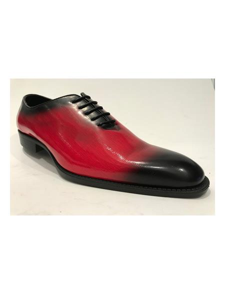 Mens Fashion Two Toned Black/Red Dress Shoe