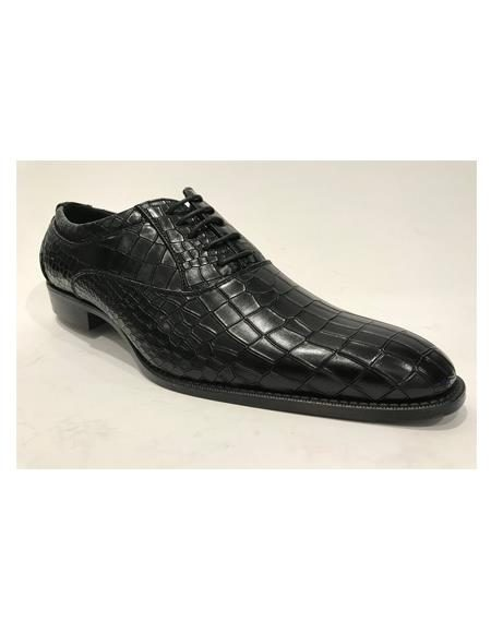 Mens Leather Horn Black Shoes