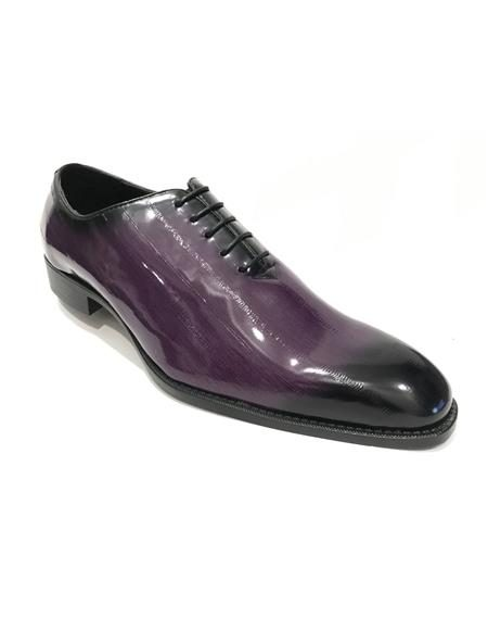 Mens Two Toned Lace Up Style Purple Dress Shoes