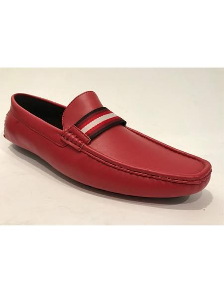 Mens Slip-On Style Red Shoes