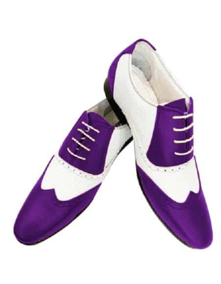 Alberto Nardoni Leather Two Toned Wing Tip Shoe + Purple Color