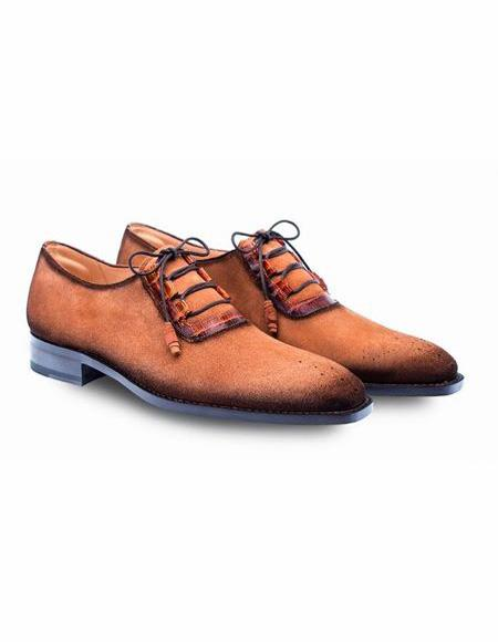 Mens Cognac Lace Up Shoe
