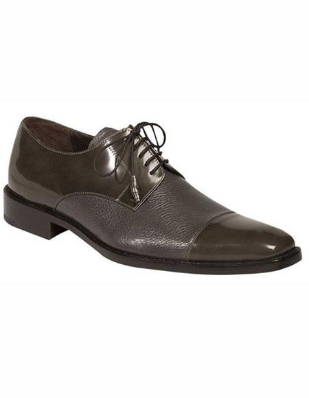 Mens Grey Lace Up Leather Shoe