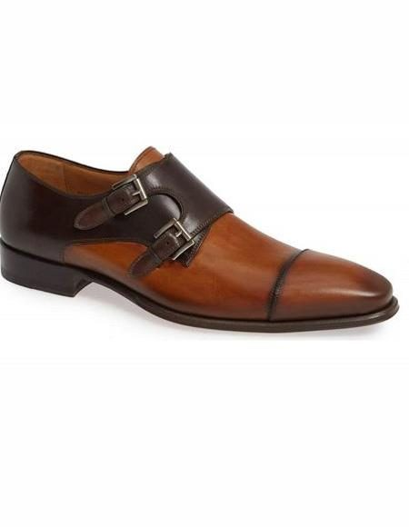 Mens Tan Sip On Double Monk Strap Shoe