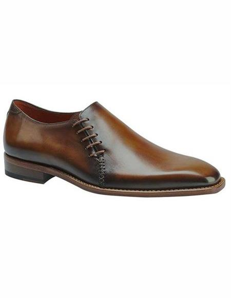 Mens Cognac Lace Up Cap Toe