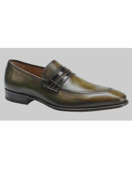 Mens Leather Olive Loafer Shoe