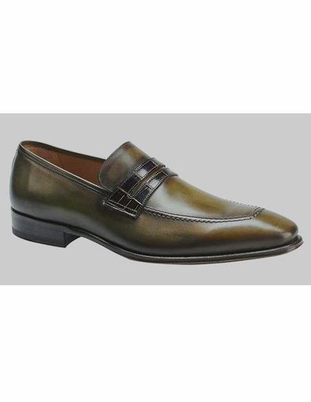 Mens Leather Olive Loafer Shoe