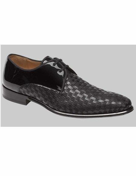 Mens Black Lace up Leather Lining Shoe