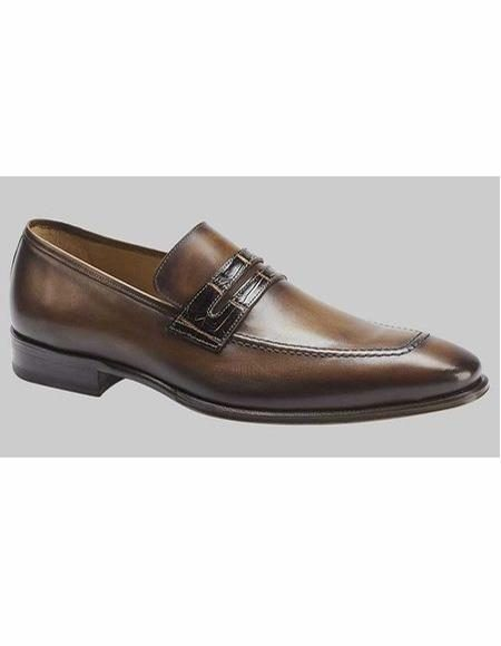 Mens Cognac Penny Loafer Slip On Shoe