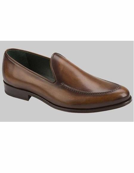 Mens Cognac Slip On Shoe Loafer Design