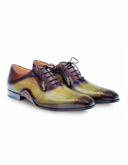 Mens Olive Lace Up Cap Toe