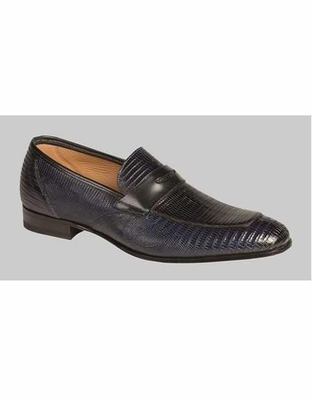 Mens Black Slip On Penny Loafer Shoe