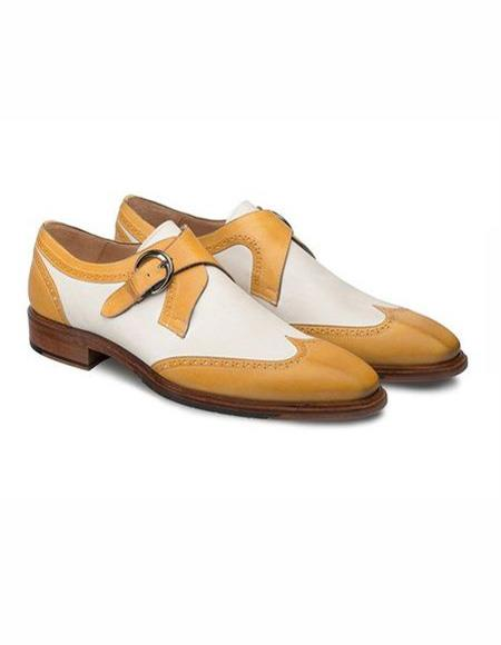 Mens Camel ~ Bone Wingtip Style Shoe
