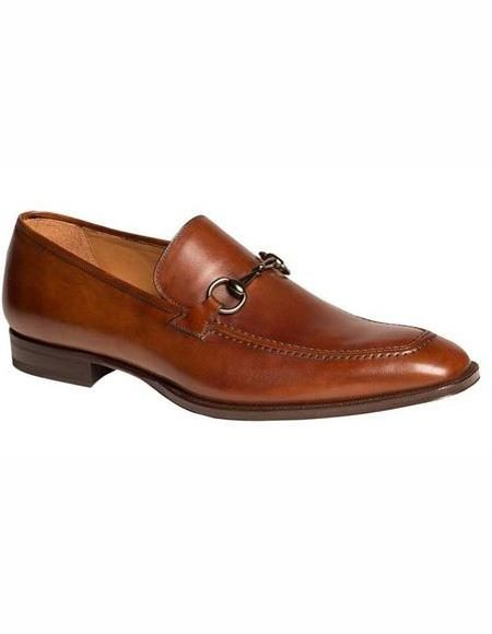 Mens Cognac Cap Toe Leather Lining Shoe