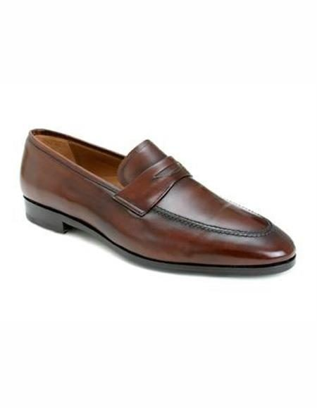 Mens Slip On Cognac Leather Lining Shoe
