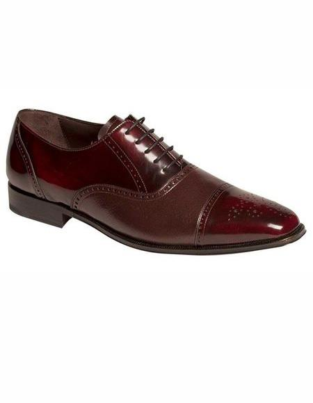Mens Lace Up Burgundy Cap Toe
