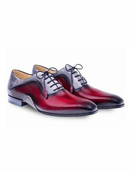 Mens Burgundy Lace Up Cap Toe