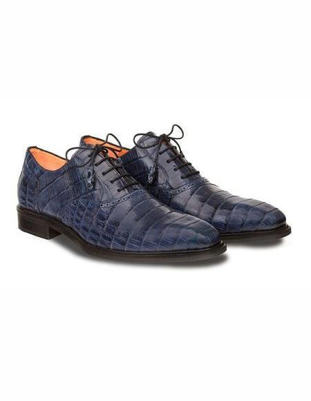 Mens Blue Lace Up Leather Shoe
