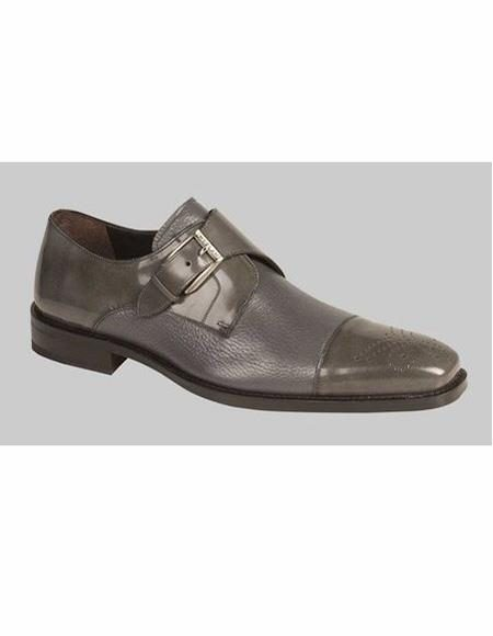 Mens Gray Cap Toe Leather Lining Shoe