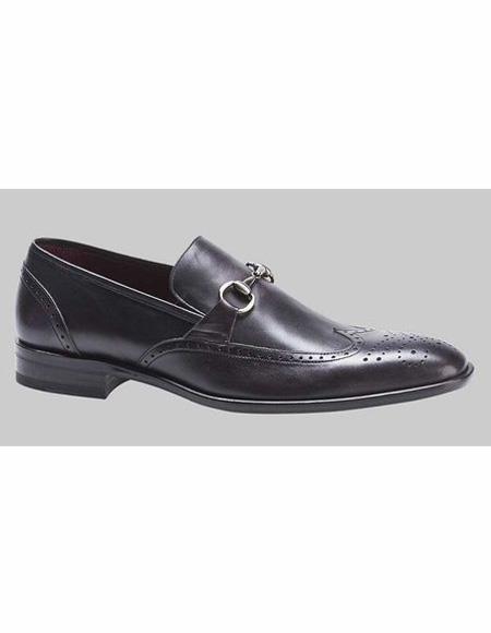 Mens Black Wingtip Style Shoe