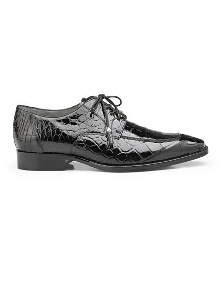 Authentic Mens Mezlan Dress Shoe Lorenzo, in Black Split-toed Alligator Derby Shoes Style: B01