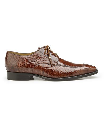 Authentic Mens Mezlan Dress Shoe Lorenzo, in Peanut Split-toed Alligator Derby Shoes Style: B01