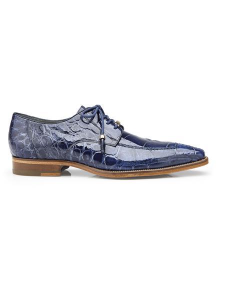 Authentic Mens Mezlan Dress Shoe Lorenzo, in Sky Blue Split-toed Alligator Derby Shoes Style: B01