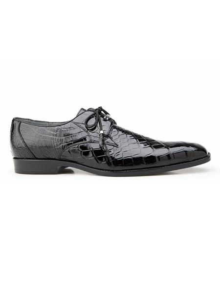 Authentic Mens Mezlan Dress Shoe Lago, in Black Plain-toed Derby Dress Shoes, Alligator Style: 14010