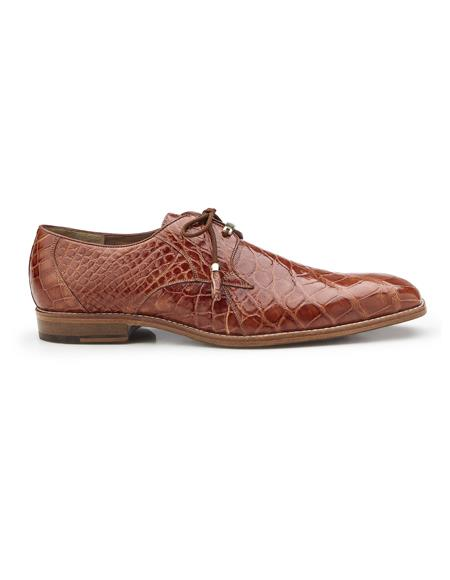 Authentic Mens Mezlan Dress Shoe Lago, in Cognac Plain-toed Derby Dress Shoes, Alligator Style: 1401